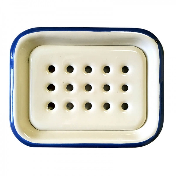 Enamel Soap Dish Cream-Blue