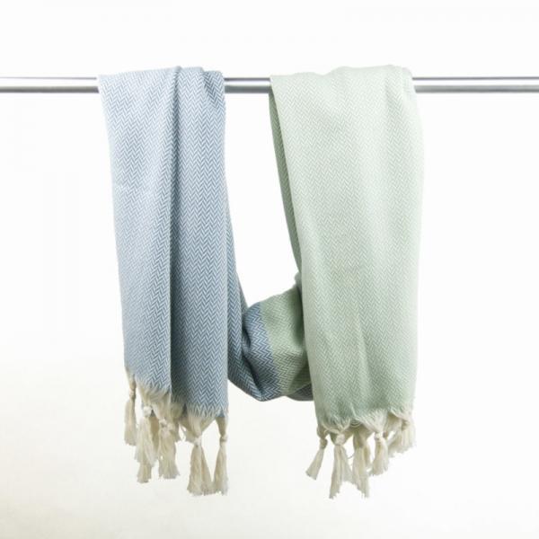 Hammam Towel Manolya pistachio-grey blue
