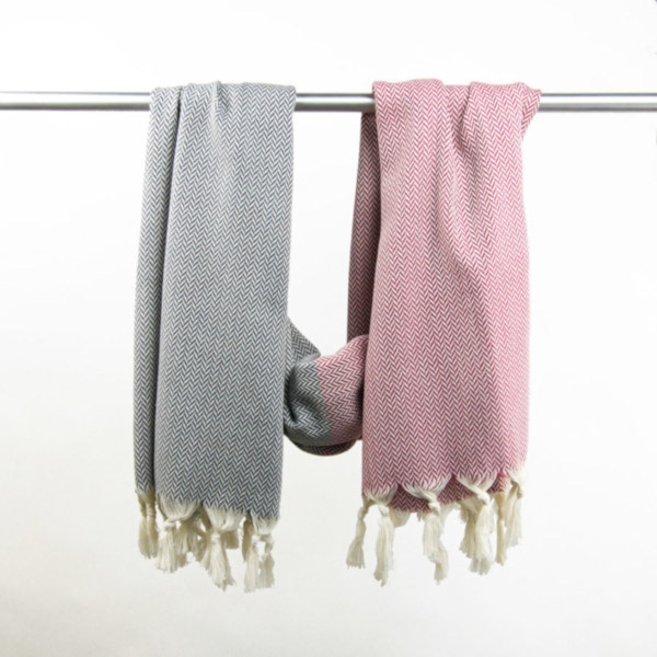 Hammam Towel Manolya berry-graphit grey